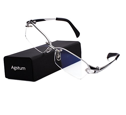 Agstum Pure Titanium Half Rimless Glasses Frame Optical Eyeglasses Clear Lens (Silver, - Eyeglasses Wide