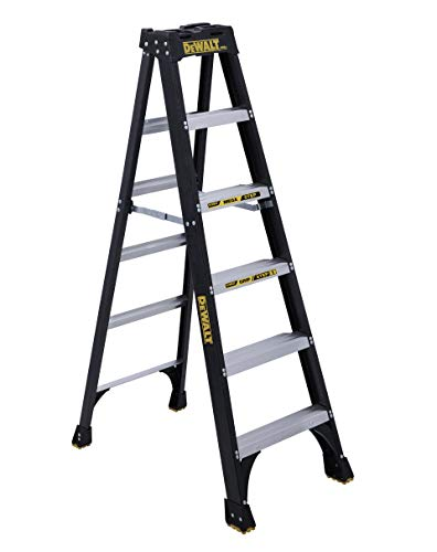 DeWalt DXL3010-06 6-Feet Fiberglass Stepladder Type IA with 300-Pound Duty Rating, 6-Feet, color may vary