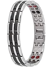 Magnetische armband titanium stalen magnetische armband, gezondheidssieraden voor mannen voor artritis pijnverlichting magnetische armbanden magnetische therapie armband (interval zwart)