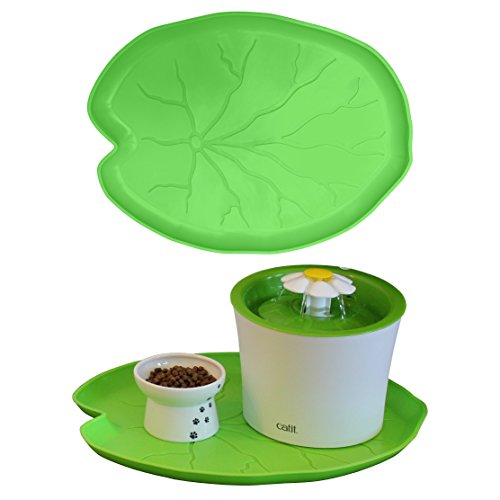Premium Pet Food Tray - Dog and Cat Food Mat with Green Leaf Design - Best for Catit and Drinkwell Fountains