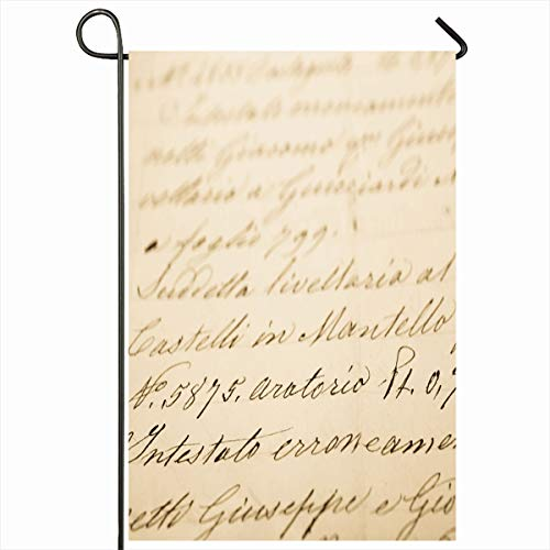 (Ahawoso Seasonal Garden Flag 12x18 Inches Sheet Cursive Old Letter Vintage Handwriting Ancient Manuscript Aged Antique Design Page Home Decorative Outdoor Double Sided House Yard Sign )
