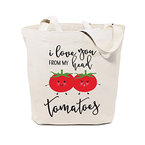 Medium Market Bag - The Cotton & Canvas Co. I Love You From My Head Tomatoes Reusable Grocery Bag and Farmers Market Tote Bag