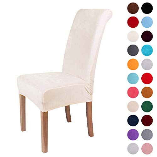 Colorxy Velvet Spandex Fabric Stretch Dining Room Chair Slipcovers Home Decor Set of 4, Cornsilk
