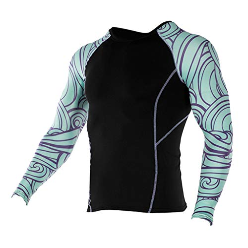 Wendeyipi Men's Quick Dry Sports Tops Summer Bodybuilding Gym Athletic Blouse Fashion Leopard Print Long Sleeve T-Shirts Light Blue