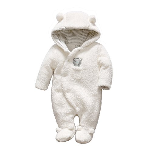 Newborn Baby Romper Winter Bear Style Hooded Plush Jumpsuit Cosplay Clothes (3-6 Months, ()