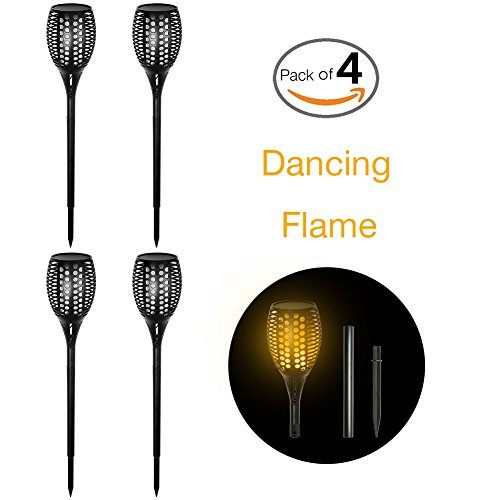 H+LUX Solar Lights, Solar Garden Lights,Waterproof Solar Torch Lights with Flickering Flames,Outdoor Landscape Decoration Path Lighting for Patio Deck Yard Driveway,Dusk to Dawn Auto On/Off,Pack of 4