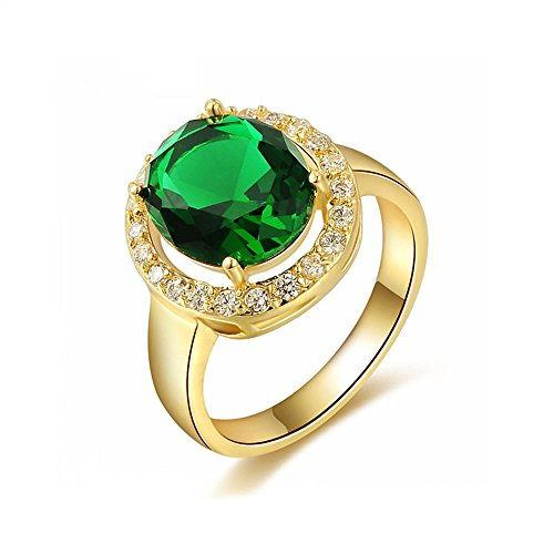 Winter.Z Noble and Elegant Ladies Jewelry Popular Explosion Models 18K Gold Green Diamond Band Ring Wedding
