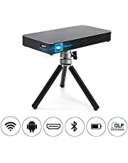 "Mini Movie Projector, NEW1 Pocket Size Video Projector -Portable Design with 120"" Picture, Android 7.1, WiFi,DLP, Wireless/Wired Screen Sharing, Compatible with Smartphone, Laptop, for Home Cinema"