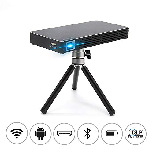 Mini Movie Projector,Pocket Size Portable Video Projector-120 Picture, Android 7.1, WiFi,DLP,Compatible with Smartphone, Laptop, HDMI, TV,TF Card for Home Cinema, Outdoor Movie Night, Travel,Gaming