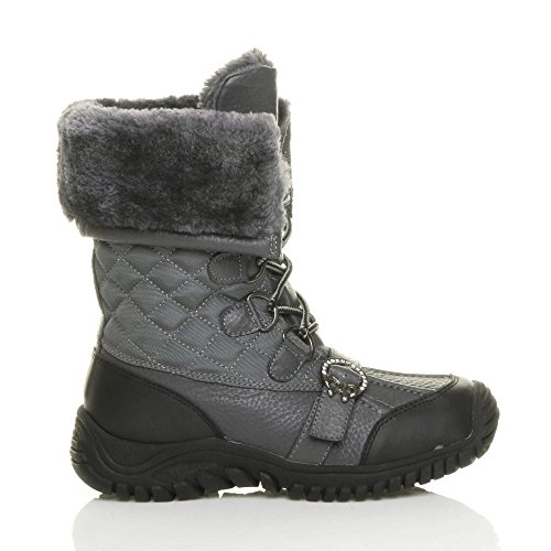 Womens ladies low heel rubber sole flat winter snow winter lace up fur calf boots size Elephant Grey Quilted AOBcXsV
