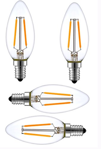 SleekLighting 2 Watt E12 LED Filament Candelabra Dimmable Light Bulb, Warm White 2700K Chandelier Decorative Torpedo Tip, Clear Glass Cover (25W Incandescent Replacement) ()