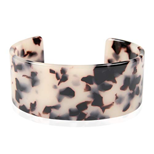 RIAH FASHION Lightweight Acrylic Open Cuff Statement Bracelet - Mottled Acetate Bangle Tortoise Shell/Leopard/Animal Design (Oversized - White Tortoise)