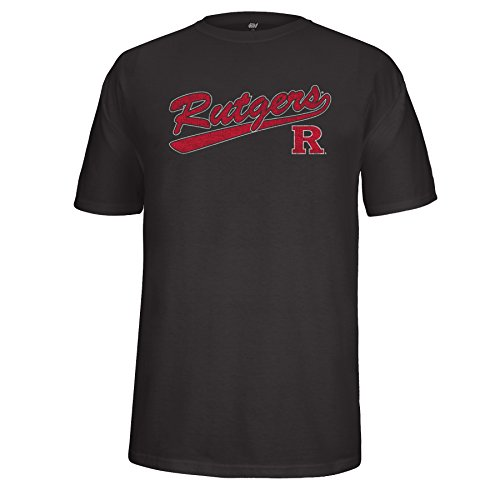 NCAA Rutgers Scarlet Knights Adult Unisex School Name Script Tail Logo Choice Tee, Small, Black