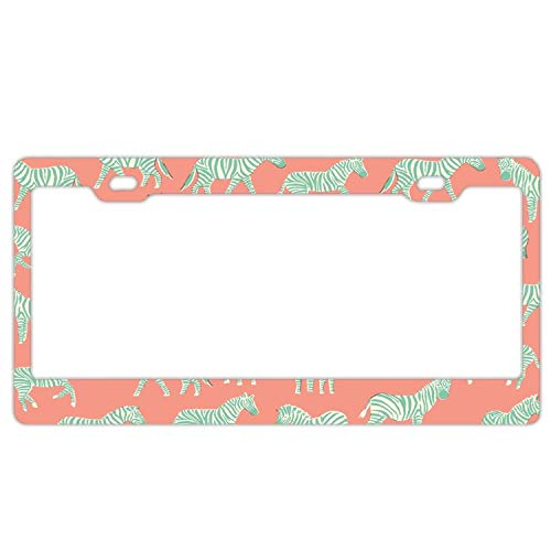 (YUMHlicenseplateframeLL Quirky Teal Zebra Metal Aluminum License Plate Frame)