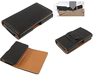 DFV mobile - Case belt clip synthetic leather horizontal premium for => Huawei Y3 U12 > Black