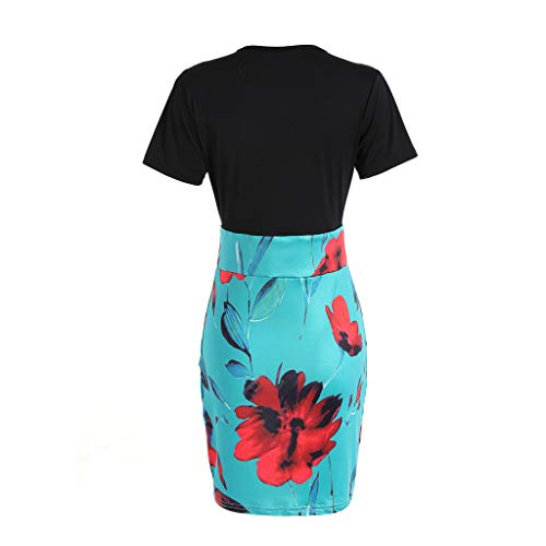 MISYAA Qipao Dresses for Women, Short Sleeve Color Match Floral Tight Cocktail Dress Besties Gifts Womens Dresses Green by MISYAA (Image #3)