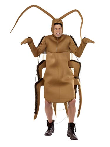Smiffys Men's Cockroach Costume, Bodysuit with Sleeves, Funny Side, Serious Fun, One Size, 36571