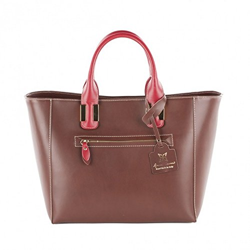 Sac à main, Serena rouge, cuir véritable, Dimensions en cm:48 l x 30 h x 12 p (LIMITED EDITION)