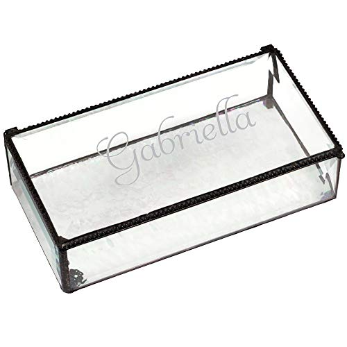 J Devlin Box 830 EB304 Personalized Large Clear Beveled Glass Box Engraved Jewelry Keepsake Display Home Decor ()