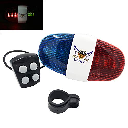 Estiq New Police 4-Melody Bicycle Power Horn Siren, 6-LED Strobe Blue and Red Bicycle Safety - Police Siren Lights