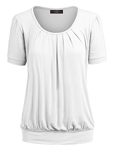Made By Johnny MBJ WT1175 Womens Scoop Neck Short Sleeve Front Pleated Tunic XL ()