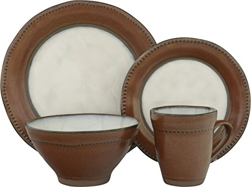 Bowls Stoneware Sango (Sango 16 Piece Centric Sienna Dinnerware Set, Brown)
