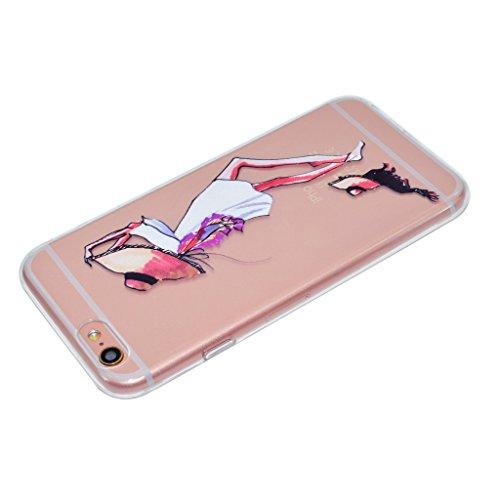 iPhone 6 / 6S Coque,fille Pet Premium Gel TPU Souple Silicone Transparent Clair Bumper Protection Housse Arrière Étui Pour Apple iPhone 6 / 6S + Deux cadeau