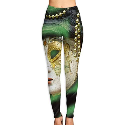 e1818259da KUAAAKE Yoga Pants White Gold Mardi Gras Mask Holiday Womens Fitness Power  Flex Yoga Pants Leggings