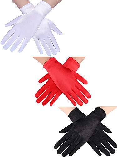Sumind 3 Pairs Wrist Length Gloves Women Short Satin Gloves Opera Short Gloves for 1920s Wedding Party (Black, White, Red)