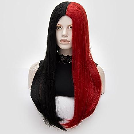 ATAYOU-WIG 2 tonosLas mujeres largas rectas y rizado rizado literas Anime Cosplay pelucas (Semi-negro semi-rojo#1): Amazon.es: Belleza