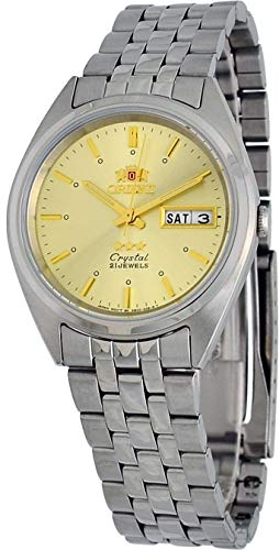 (Orient #FAB0000AC Men's 3 Star Stainless Steel Day Date Gold Dial Automatic Watch)