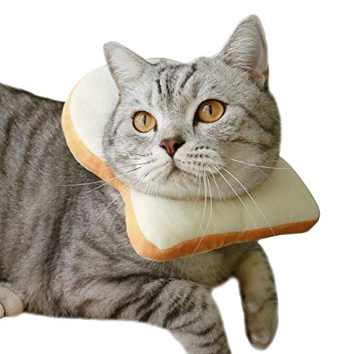 MOCOHANA Creative Toast Pet Costume Soft Bread Slice Collar for Dogs and Cats Pet Photo Props Headgear M ()