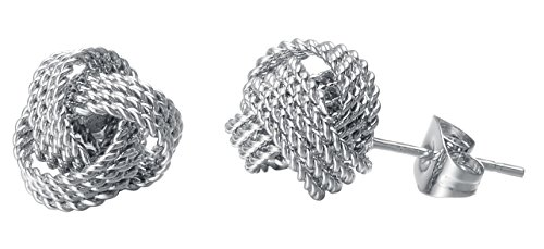 Twisted Love Knot Stud Earrings, Four Rope Style, Stainless Steel - By Regetta Jewelry