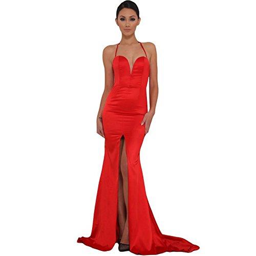 Missord Women's Bra Strapless Prom Maxi Dress Medium Red by Miss ord (Image #7)