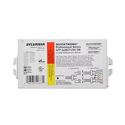 (Sylvania QTP-2X26CF/UNV-DM Non-Dimming Ballast, Compact Fluorescent, CFL, 2-Lamp)
