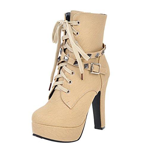 Uh Chaussures Talons Femmes Eclair Lacet Noir Bout Rond Bloc Boucles En Hauts Plateforme À Avec Mode Fermeture Rivets Et Bottines De r5rvqdxw