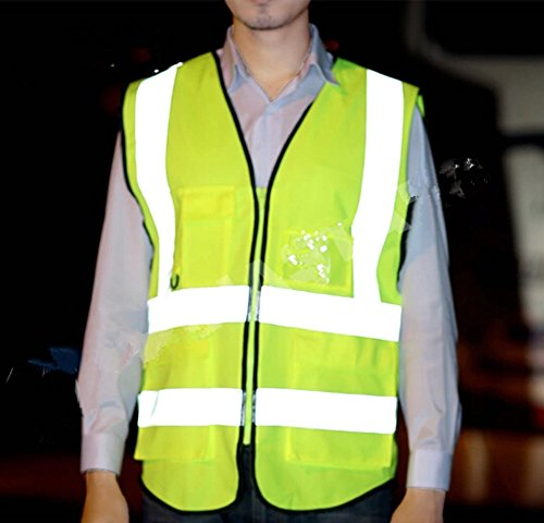 Misslo 5 Pockets High Visibility Zipper Front Breathable