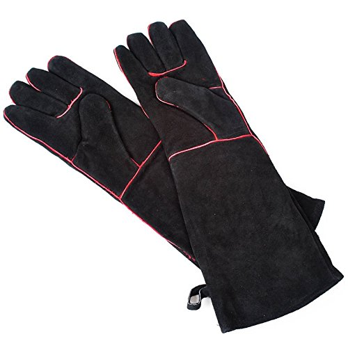nal Long Fireplace Hearth Barbeque Gloves, Black ()