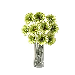 Rae's Garden Artificial Flowers Realistic Fake Flowers Gerbera Daisy Bridal Wedding Bouquet for Home Garden Wedding Party Decorations 10 Pcs (Green) 46