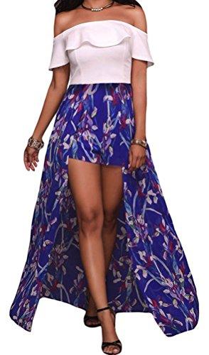 YeeATZ Womens Elegant Ruffle Off Shoulder Floral Pattern