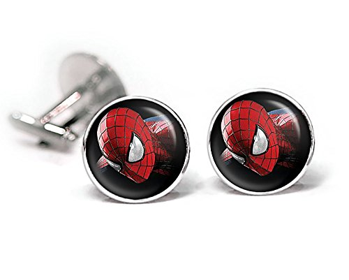 Spiderman Cufflinks, The Amazing Spider-Man Tie Clip, Superhero Wedding Jewelry, Groomsmen gifts, groomsman gift (Spider Man Jewelry)