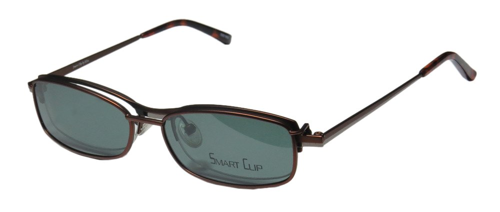 SmartClip 276 Mens/Womens Designer Half-rim Casual With Polarized Clip-on Lenses Sunglass Lens Clip-Ons Eyeglasses/Eye Glasses (49-16-137, Matte Brown/Gunmetal) by SmartClip