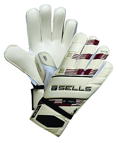 Sells Goalkeeper Products Victor Valdez Technical Excel Supersoft 4mm Gloves with Guard (Pair), White/Maroon/Black, Size 10 Sells Goalkeeper