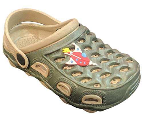 Top Camo Cute Buzz Foam Clog Sandals for Toddler Boys with Drainage Holes Non Slip Classic Gardening Classic Comfortable Walking Light Weight Size 6 Kids Pool Water Shoes Slippers (Size 6, Green) by TravelNut