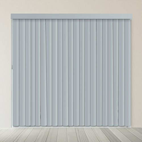 Chicology Cordless Vertical Blinds / 78″W X 84″H, Curtain Drape Window Shade, PVC, Variable Light Control – Slate Gray