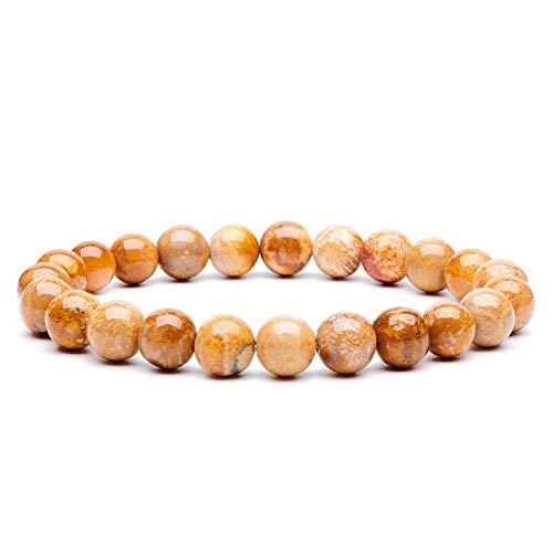 Coral Beads Jewelry Bracelet - Natural Gemstone Semi Precious Round Beads Bracelet 8mm Handmade Stretch Bracelet Unisex Jewelry (Fossil Coral)