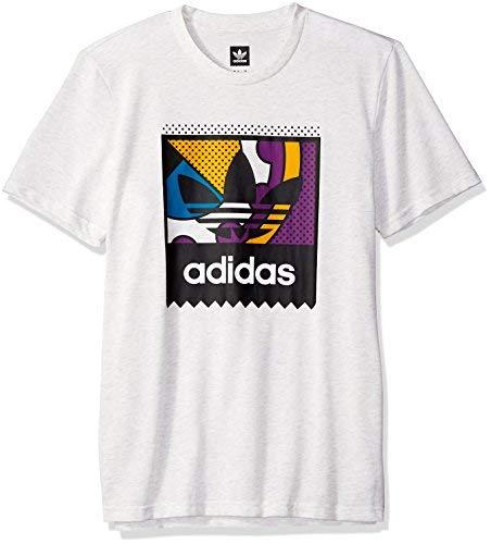 adidas Originals Men's Skateboarding Logo Tee, Pale Melange/Tribe Purple/Real Teal, XS ()