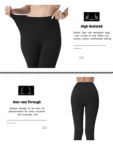 VALANDY High Waisted Leggings for Women Stretch Tummy Control Workout Running Yoga Pants Reg&Plus Size 3