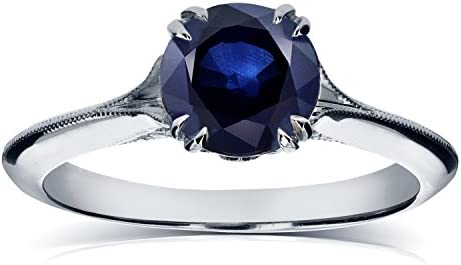 Kobelli Vintage Blue Sapphire Engagement Ring with Diamond Accents 1 1/10 CTW in 14k White Gold