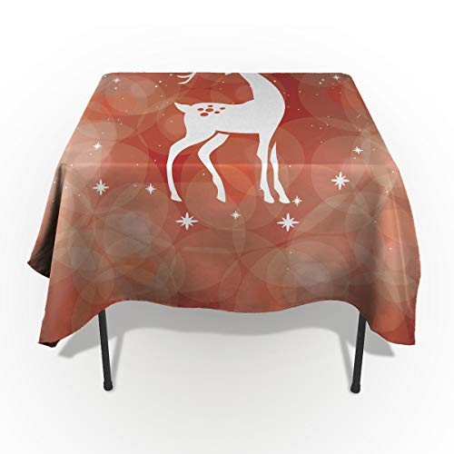 Edwiinsa Spillproof Washable Fabric Tablecloth, Shiny Reindeer Under Projector Lamp Table Cover for Dinning Buffet Table Party Picnic Tabletop - Rectangle/Oblong 60 x 120(153 x ()
